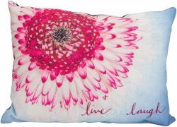 About Face Posy Live Laugh Cushion, Pink
