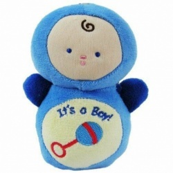 It's a Boy Baby Doll Rattle Soft Toy Gift Blue 14 cm